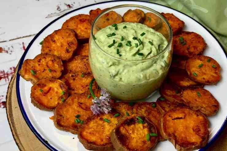 Verde Goddess Dip with Sweet Potato Chips