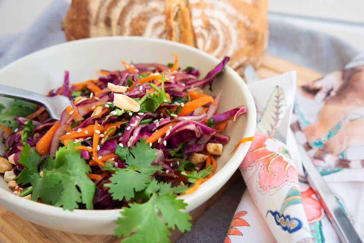 Bowl of Asian coleslaw.