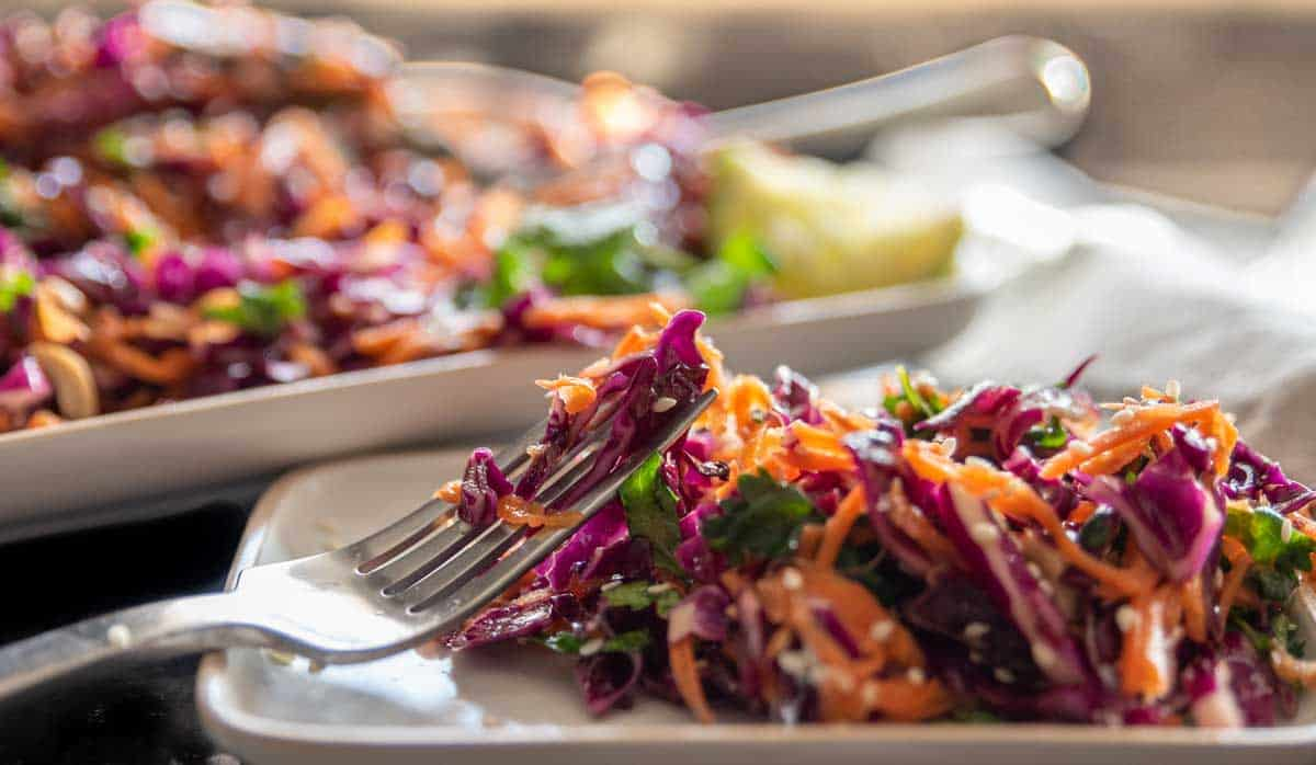 Plate of brightly coloured Asian coleslaw with a fork.