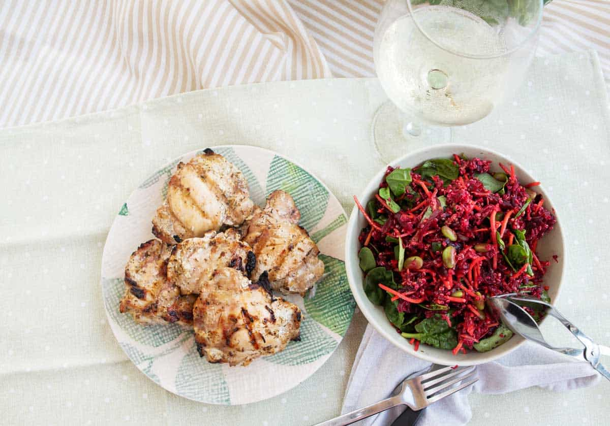 Picnic with beetroot salad and grilled chicken.