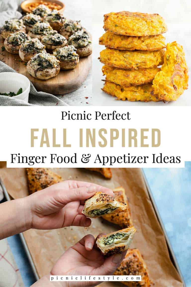 Collage of fall finger food appetiser dishes.
