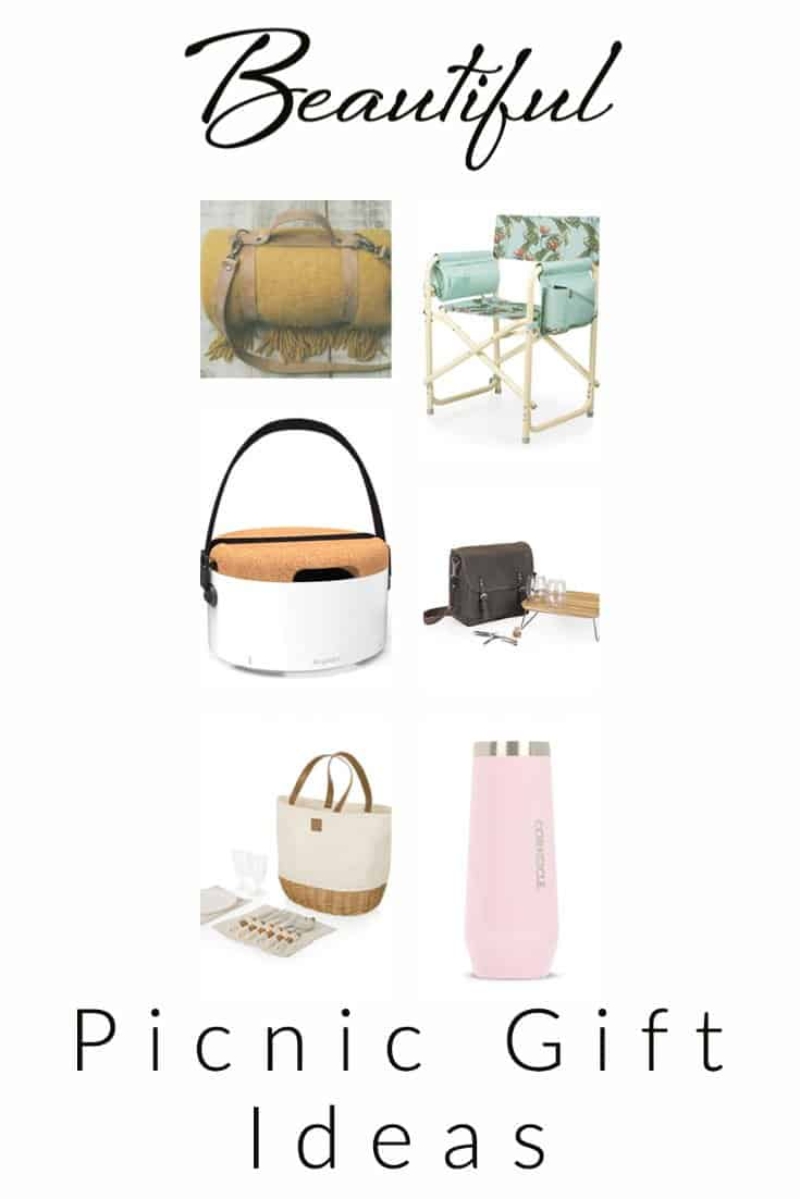 """Collage of picnic accessories with text overlay """"beautiful picnic gift ideas""""."""