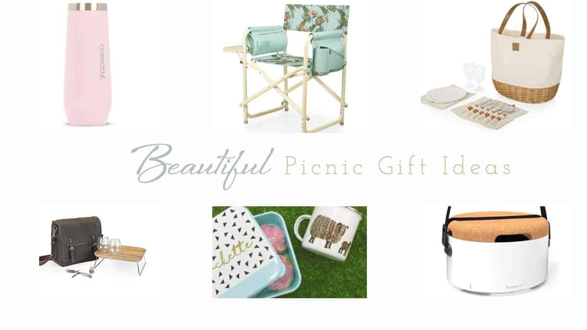 """Collage of picnic accessories with text overlay - """" beautiful picnic gift ideas""""."""