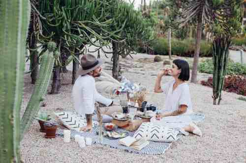 Attractive hipster couple enjoying a romantic picnic.