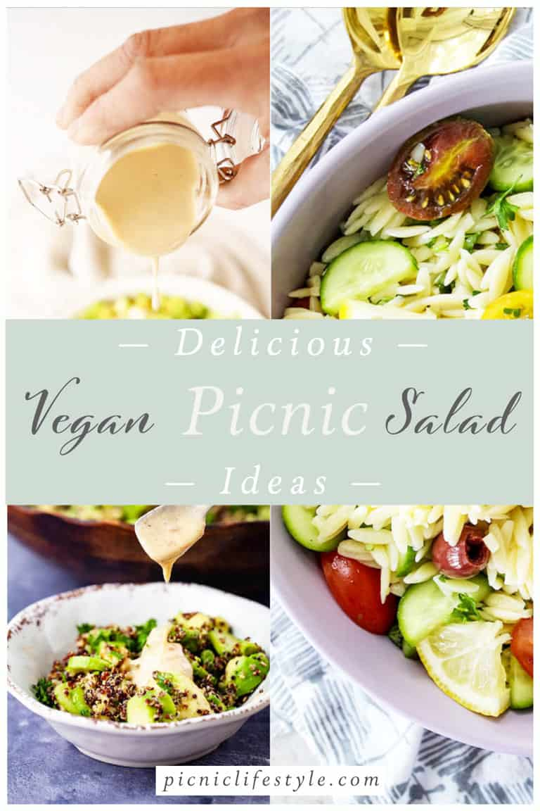 """Collage of vegan salads with text overlay - """"Delicious Vegan Picnic Salad Ideas"""""""