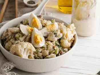 Bowl of creamy cauliflower salad.