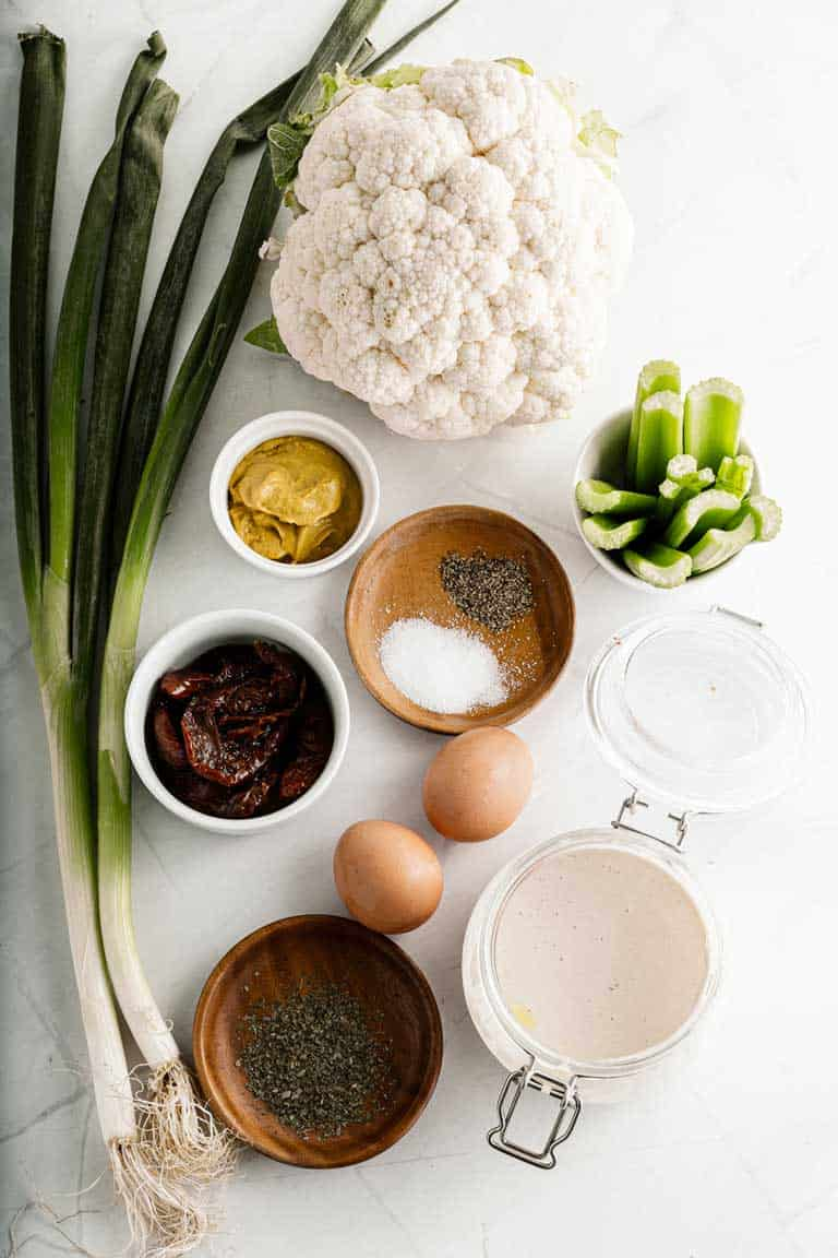 Ingredients for cauliflower salad.