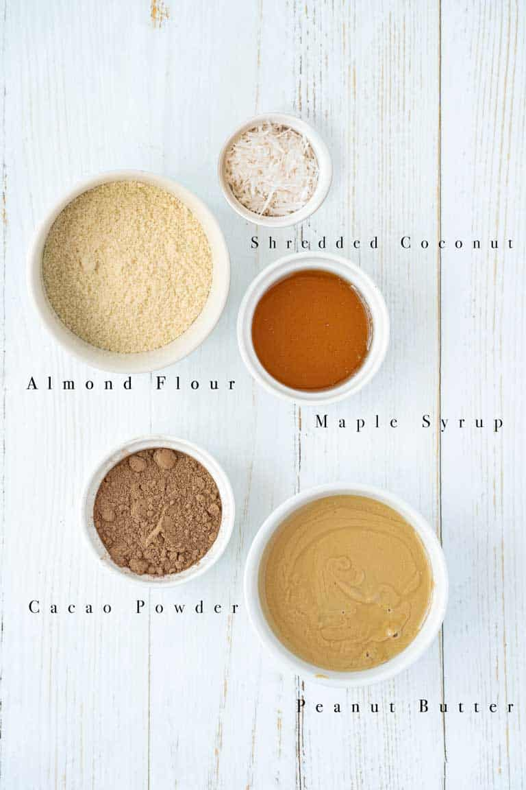 Ingredients for cocoa fat bombs.