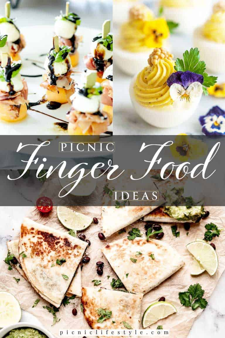 Collage of picnic finger food ideas with text overlay - Picnic Finger Food.