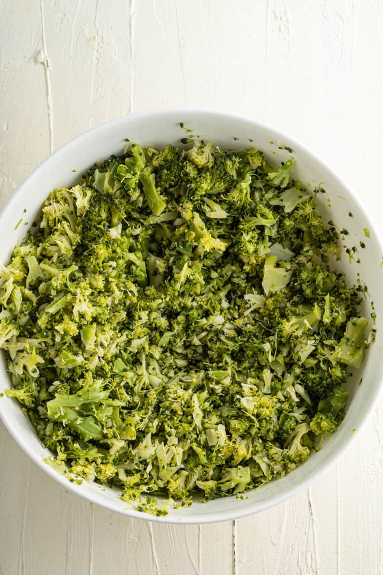 Bowl of finely chopped broccoli for dip.