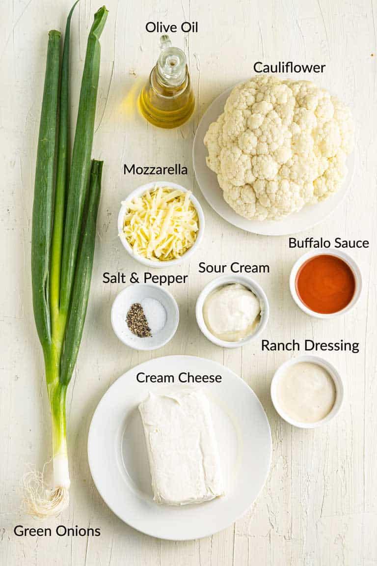 Ingredients for Cauliflower Buffalo Dip.