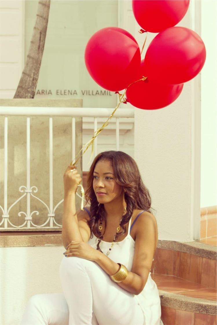 pretty lady with balloon