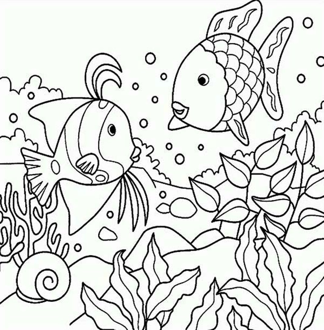 Fish In The Pond Colouring Page