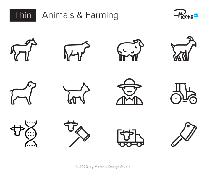 Animals, Farming, Cattle icons