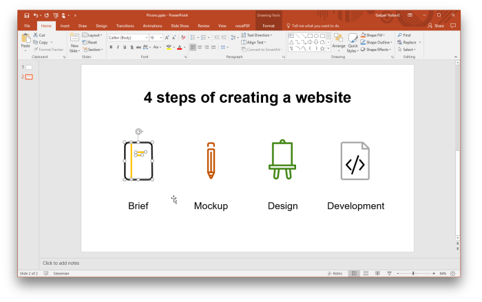 Insert vector icons in PowerPoint