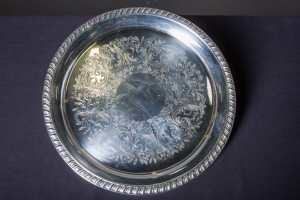 round-silver-serving-tray-floral-pattern-catering-rentals-in-los-angeles