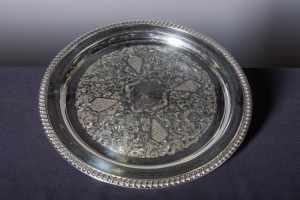 round-silver-serving-tray-with-pattern-catering-rentals-in-los-angeles