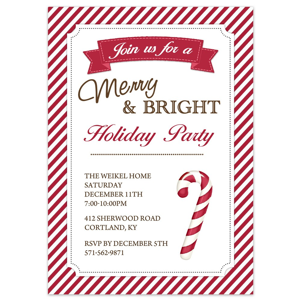 Christmas Party Invitations Candy Cane Design Printed