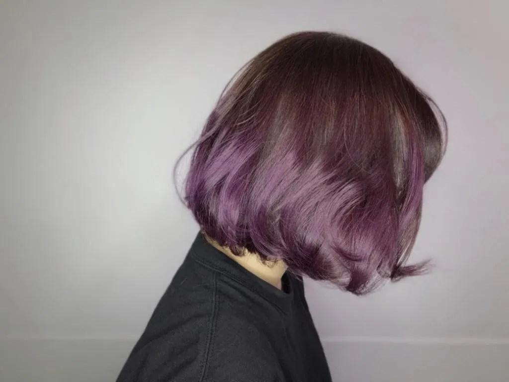 ▲▼東區染髮紫色系的4款變化。