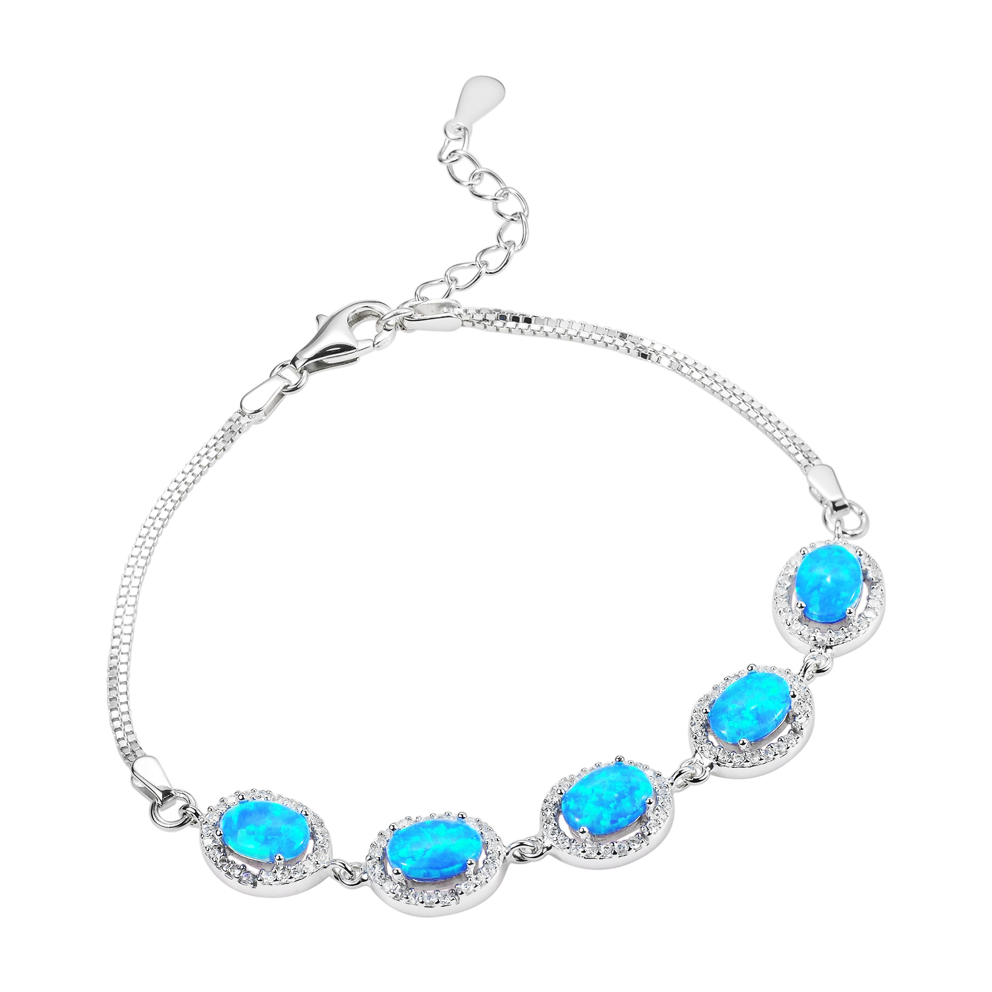 Magical Oval Of Light Blue Opal Oval Link Sterling Silver