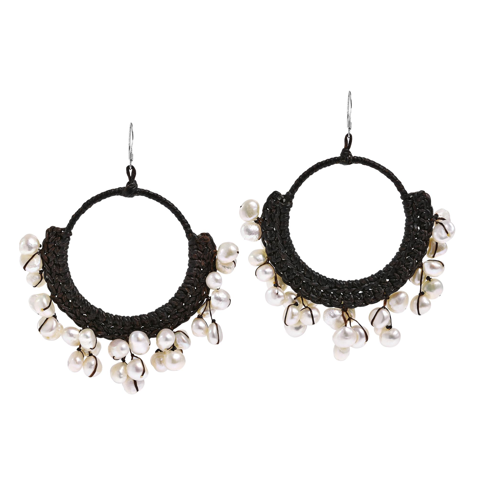 ff31d0c012e12a Freshwater White Pearl Chandelier Hoop Earrings