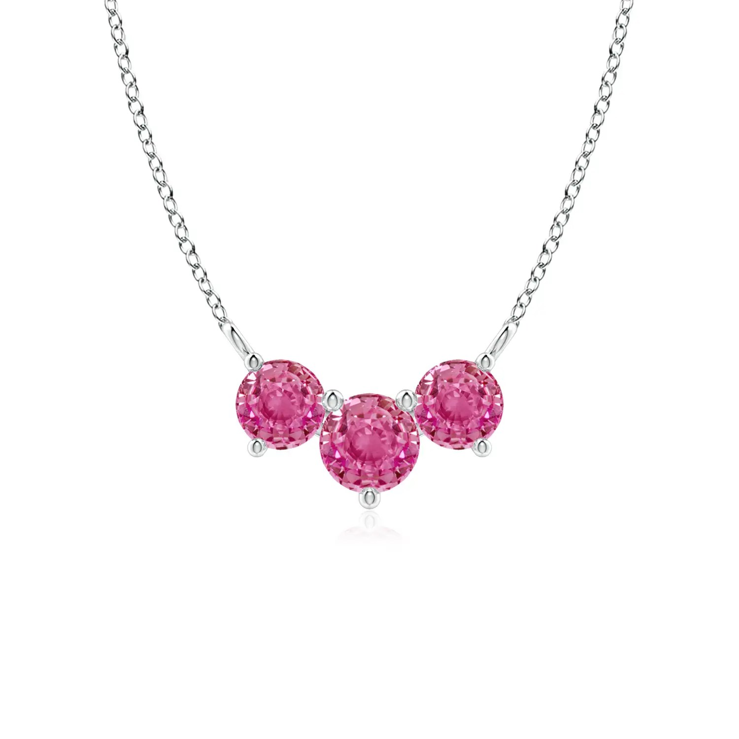 Classic Trio Pink Sapphire Necklace