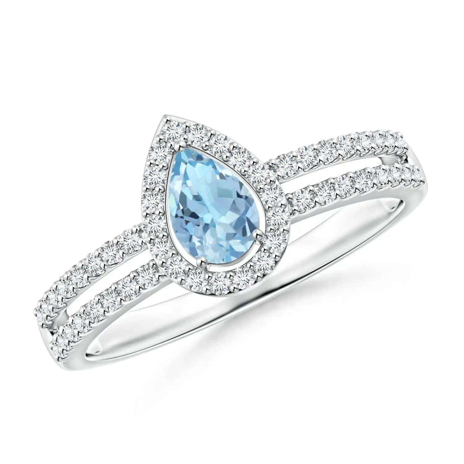 04c183d02ac Pear Shaped Natural Aquamarine Diamond Halo Ring Split