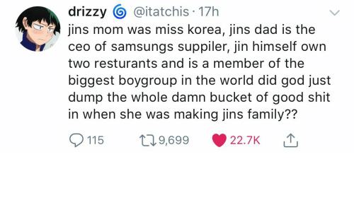 17h Drizzy Jins Mom Was Miss Korea Jins Dad Is The Ceo Of Samsungs