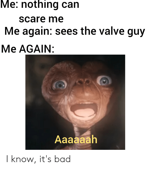 Me Nothing Can Scare Me Me Again Sees The Valve Guy Me Again