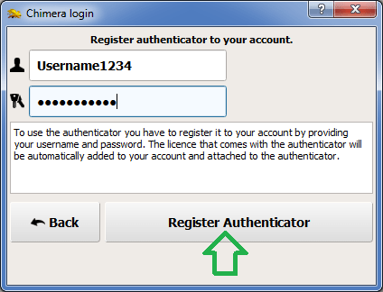 Register Authenticator Button