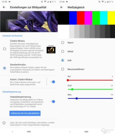Display-Einstellungen des Xperia 1
