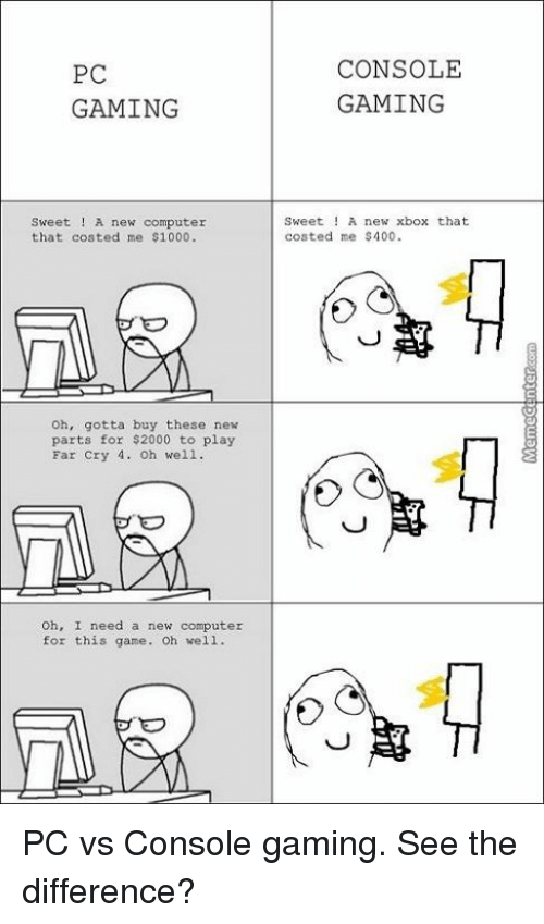 25 Best Memes About Pc Vs Console Gaming Pc Vs Console