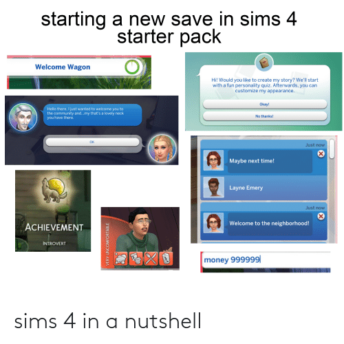 Starting A New Save In Sims 4 Starter Pack Welcome Wagon Hi Would