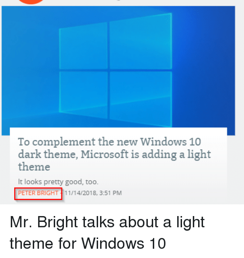 To Complement The New Windows 10 Dark Theme Microsoft Is Adding A