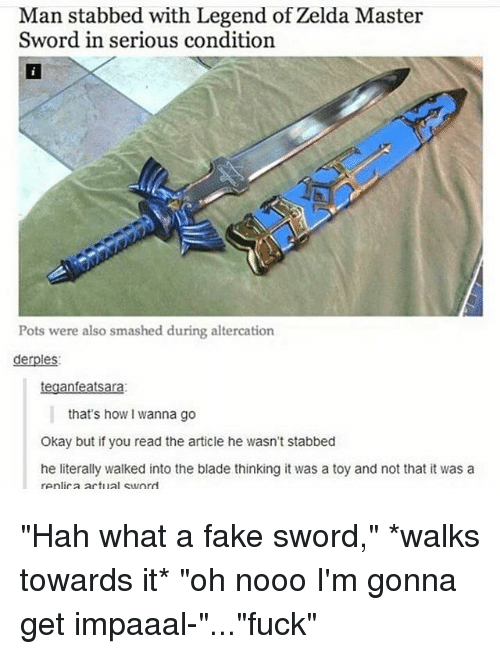Man Stabbed With Legend Of Zelda Master Sword In Serious Condition