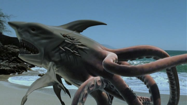 before i even watched the trailer for this i knew exactly what i was in for and sure enough there we have it sharktopus is a half shark half octopus sea