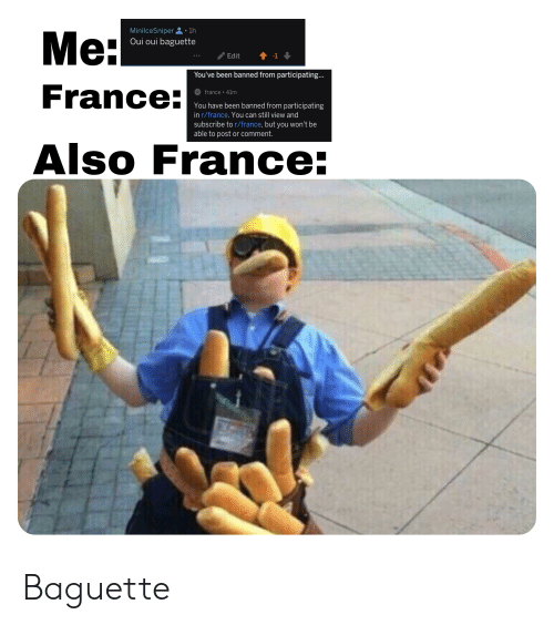 Minilcesniper1h Oui Oui Baguette Me France You Ve Been Banned From Participating France 41m You Have Been Banned From Participating In Rfrance You Can Still View And Subscribe To Rfrance But You Won T