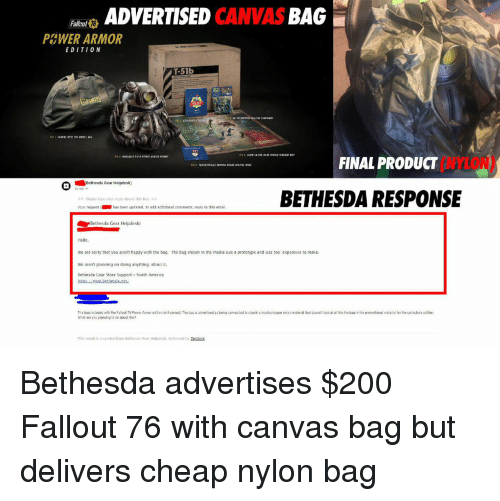 ADVERTISED CANVAS BAG Fallout 16 PampWER ARMOR EDITION T 51b