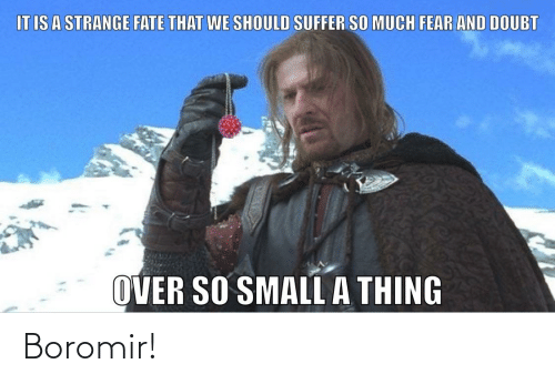It Makes Me Sad When People Put Boromir Down The Ring Tempted Him