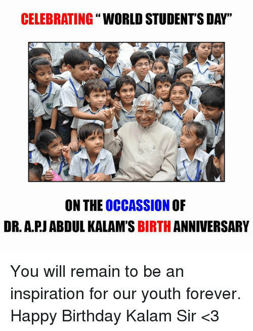 Celebrating World Student S Day On The Occassion Of Dr Apj Abdul