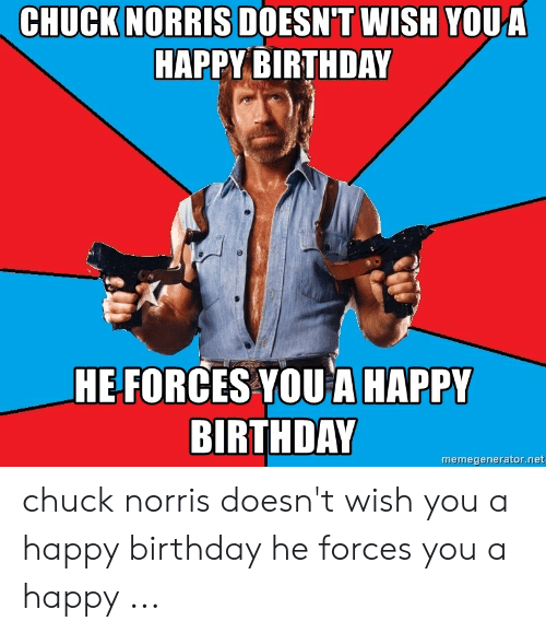Chuck Norris Doesn T Wish Youka Happy Birthday He Forces You A Happy Birthday Memegeneratornet Chuck Norris Doesn T Wish You A Happy Birthday He Forces You A Happy Birthday Meme On Me Me