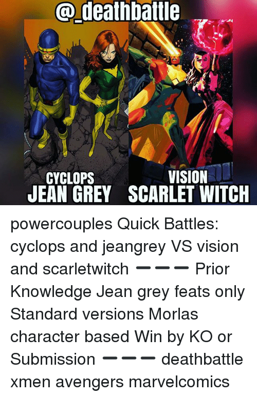 Death Battle Vision Cyclops Jean Grey Scarlet Witch Powercouples