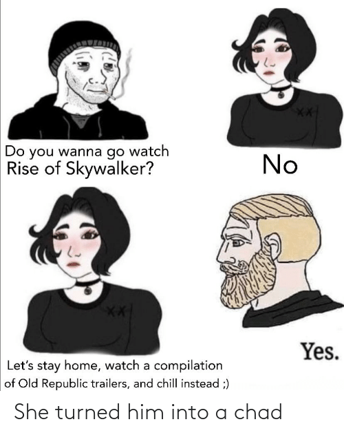 Do You Wanna Go Watch Rise Of Skywalker No Yes Let S Stay Home
