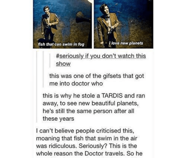 Memes Doctor Who And Tardis Fish That Can Swim In Fog Love New