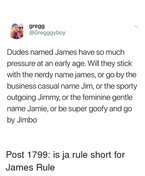 Gregg Dudes Named James Ha Pressure At An Early Age Will They