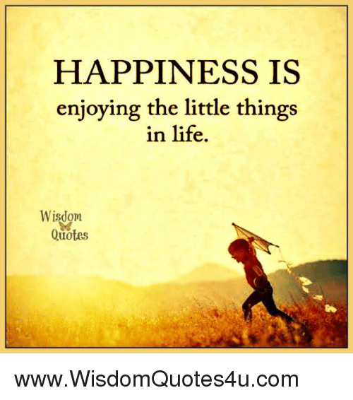 HAPPINESS IS Enjoying the Little Things in Life Wisdom ...