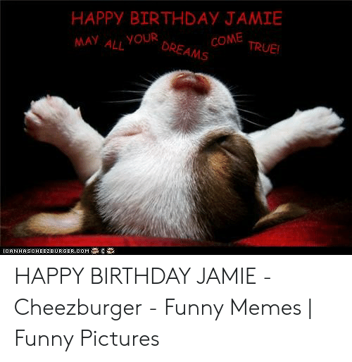 Happy Birthday Jamie Come True May Ayour Dreams Ll Icanhascheezeorger Com Happy Birthday Jamie Cheezburger Funny Memes Funny Pictures Birthday Meme On Me Me