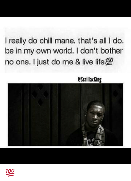 I Really Do Chill Mane That S All Do Be In My Own World Don T