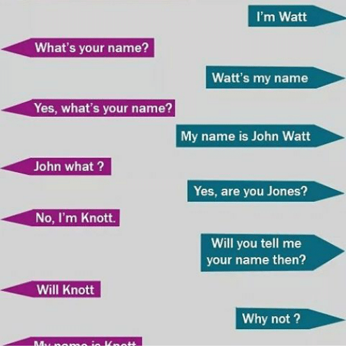 I M Watt What S Your Name Watt S My Name Yes What S Your Name My