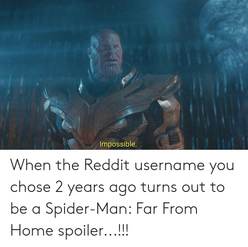Impossible When The Reddit Username You Chose 2 Years Ago Turns